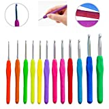 The ONLY 12 Crochet Hooks in US Letters Standard Sizes B 2.25mm ~ L 8mm - Flawless Finish Needles & Premium Quality Thermoplastic Ergonomic Handle - Extremely Comfortable for Arthritic Hands
