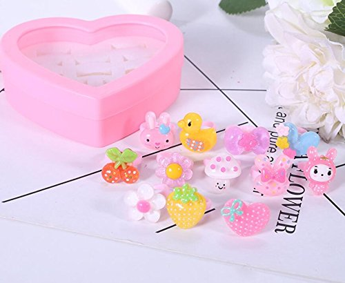 Zhahender Little Girls Accessory Jewellery Toy 12 Pcs/Set New Children's Ring Boutique Love Gift Box Girl Ring (S,Transparent) by Zhahender