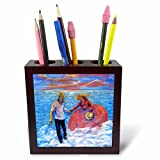 3dRose ph_66346_1 Young Love, Seaside Girl in Orange Surf Dances W Lover-Tile Pen Holder, 5-Inch