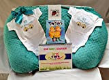 Twin Gift Set - Waterproof Twin Z Pillow + 1 Teal Cover + Travel bag + Twin Scheduler + Twin Baby Card