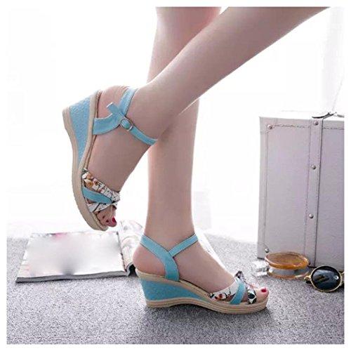 Sandalias De Verano, Inkach Sandalias De Cuñas De Verano Sandalias De Mujer Sandalias De Tacón Alto De Ppen Toe Azul