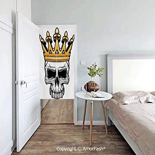 AmorFash King Japanese Noren Doorway Curtain Noren Door Tapestry Door Curtain Privacy Curtain,Hand Drawn Crowned Skull Cranium with Coronet Tiara Halloween Themed Image Decorative -