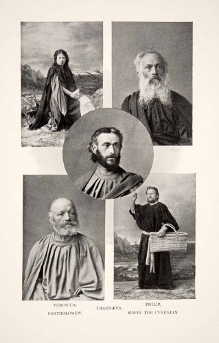 1901 Print Oberammergau Costumes Germany Passion Thaddaeus Philip Simon Cyrenian - Original Halftone Print