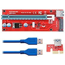 Supercope-VER 007S Extender Cable USB 3.0 Converter SATA PCI Express PCI-E 1X to 16X Riser Card with 15pin SATA Power Slot Connector Supply Cable 60CM For Bitcoin Mining (6 Pack)