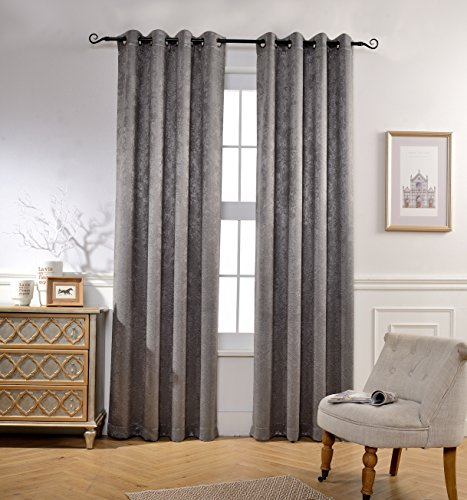 Mysky Home 3D Embossed Velvet Blackout Curtain for Bedroom, 52 x 84 inch, Grey (Set of 1 Curtain Panel)