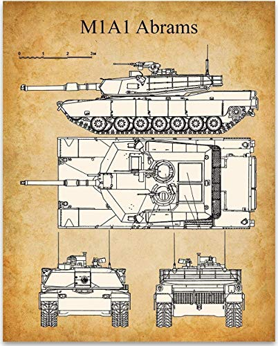 M1A1 Abrams - 11x14 Unframed Patent Print - Great Room Decor or Gift Under $15 for Veterans ()