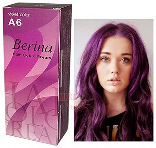 Pack of 1 Set Berina BERINA PROFESSIONALS Hair Color Cream Permanent Hair Dye Color A6 : Violet 60 G. Super Permanent Fashion Unisex