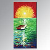 "Seekland Art Hand Painted Modern Wall Deco Art Abstract Landscape Sailboat Oil Paintings Sunrise Home Decor for Living Room No Frame (80""W x 40""H)"