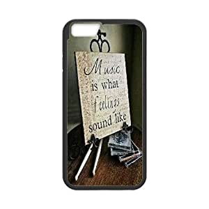 Qxhu No Music No Life Protective Snap On Hard Plastic Case for Iphone6 Plus 5.5""