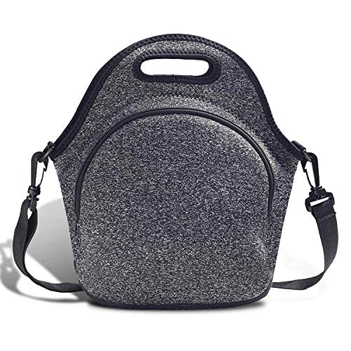 Neoprene Lunch Tote ,Lunch Bags with Shoulder Strap Reusable Foldable Washable Handbags with Extra Pocket Lunch Tote Bag for Adults Men Women Office/Work/Picnic/Travel (Black)