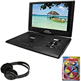 "Sylvania 13.3"" Swivel Screen Portable DVD Player w/USB/SD Card Reader Black (SDVD1332) + Bluetooth Bundle Wireless Headphones"