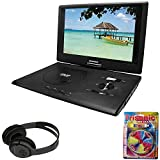 Sylvania 13.3'' Swivel Screen Portable DVD Player w/ USB/SD Card Reader Black (SDVD1332) + Bluetooth Bundle with Wireless Headphones