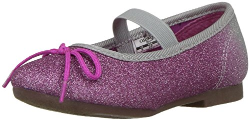 Oshkosh B'Gosh  Girls' Gwen Ballet Flat, Silver/Purple, 9 M US Toddler -