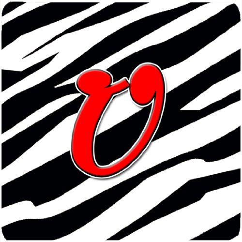 Initial Letter U 3.5 H x 3.5 W Multicolor Set of 4 Carolines Treasures CJ1024-UFC Monogram-Zebra Red Foam Coasters
