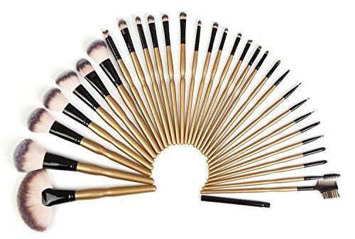 32 Pieces Makeup Brushes Set   Professional Kabuki Makeup Brush Set Cosmetics Foundation Makeup Brushes Set Kits + Pu Leather Roll Pouch (32 Beauty Makeup Set Piece)