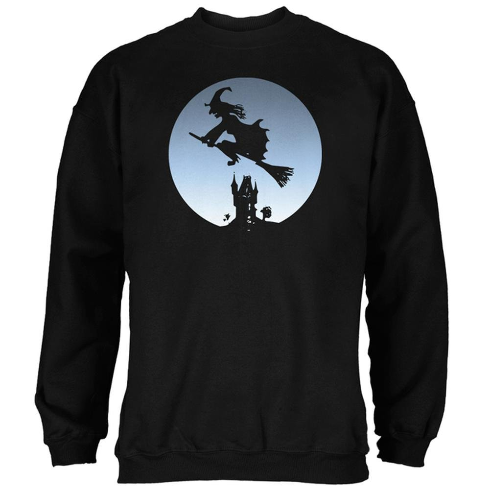 Old Glory Halloween Witch Riding Broomstick Full Moon Mens Sweatshirt