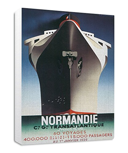 Style in Print Normandie Transatlantique Travel Poster Streched Canvas Wrap Frame Print Wall Décor - White Border, (Normandie Canvas Print)