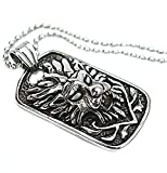 Men's Stainless Steel Necklace Pendant Tiger Head Silver Black 4.3*2.5cm