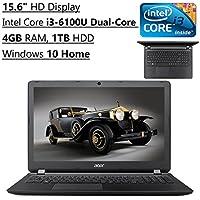 Acer Aspire Flagship High Performance 15.6 Inch HD Laptop PC | Intel Core i3-6100U Dual-Core | 2.3 GHz | 4GB RAM | 1TB HDD | DVDRW | Bluetooth | WIFI | Windows 10 (Black)