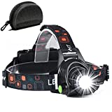 Updated CREE LED Headlamp-18650 Rechargeable Flashlight with 3 Lighting Modes, Adjustable Strap, IPX4 Water Resistant. Lightweight and Brightest Light(Batteries Included)