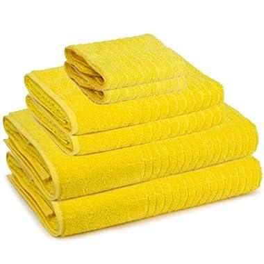 6 Piece 100-Percent Ring Spun USA Cotton Bathroom Towel Set (Citrus Yellow)