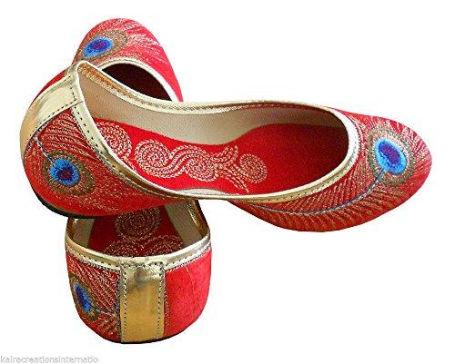 de terciopelo Creations artesanal rojos zapatos indio tradicional Kalra Mujeres diseñador 7nPgF