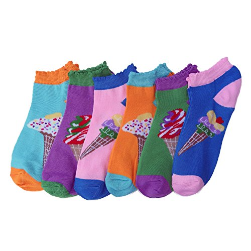 Mashed Clothing Women's 6-Pack Patterned Low Cut Socks (Ice Cream Cones)