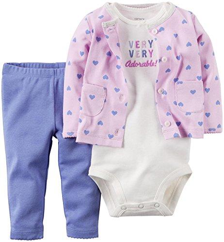 (Carter's Baby Girls' 3 Piece Cardigan Set 126g109, Make Me Smile, 6 Months)