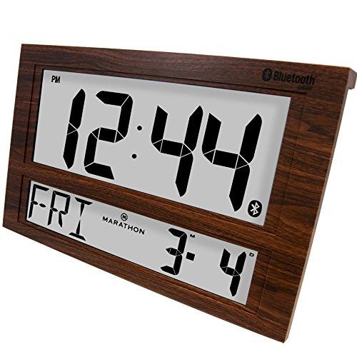 Tone Table Clock (MARATHON CL800003WD Jumbo Bluetooth Clock System with Batteries - Wood Grain Tone)