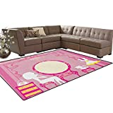 Girls,Floor Mat,Lady Sitting in Front of French Cosmetic Make-Up Mirror Furniture Dressy Design,Anti-Skid Area Rug,Pink Yellow Size:5'x6'