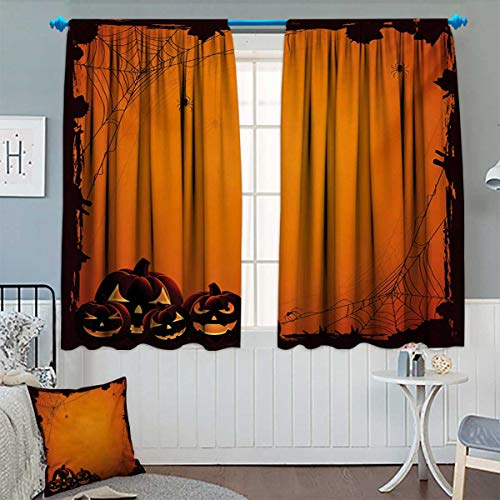 Anhounine Halloween,Blackout Curtain,Grunge Spider Web Jack o Lanterns Horror Time of Year Trick or Treat Print,Customized Curtains,Orange Seal Brown,W55 x L72 inch
