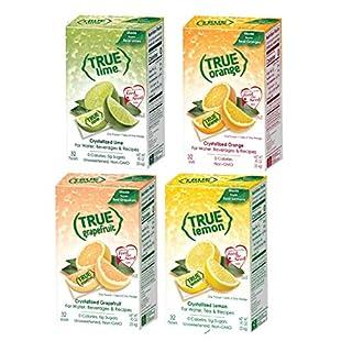 True Lemon, Lime, Orange & Grapefruit 32ct Boxes Sampler Pack (4 packs)
