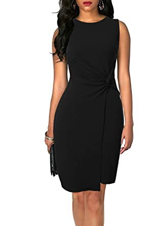 67e400f0bd1 Zalalus Women s Elegant Summer Casual Dress Wear to Work Solid Sleeveless  Round Neck Above Knee Length