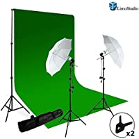 LimoStudio Photography Studio Photo Video Continuous Umbrella Light Lighting Kit with Chromakey Green Screen Photo Background Backdrop Support System, AGG412V3