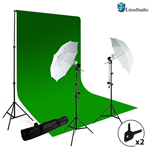 Limophoto-Continuous-Umbrella-Lighting-Kit-With-Chromakey-Green-Screen-Photo-Backdrop-Support-System
