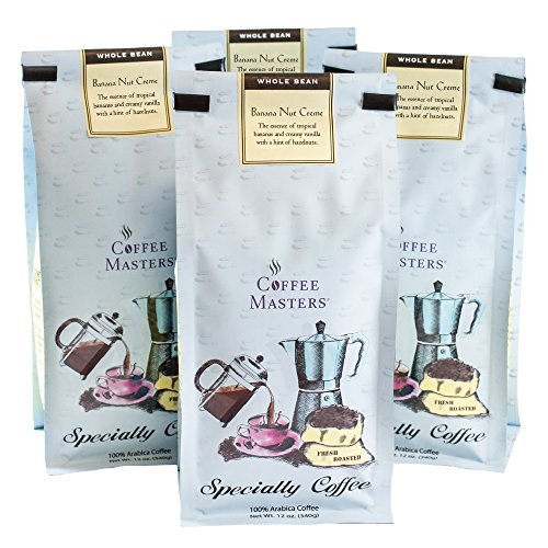 Coffee Masters Flavored Coffee, Banana Nut Creme, Whole Bean, 12-Ounce Bags (Pack of 4)