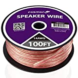 Fosmon [14 Gauge | 100ft] 14AWG Copper-Clad Aluminum (CCA) Speaker Wire with Red Polarity Mark