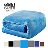"9.8 Newton plush Weighted Blanket, Blue, 48"" × 78"" - 14 lbs, Various Sizes for Child and Adults, Perfect Sleep Therapy for People with Insomnia, Stress, Anxiety, Autism or ADHD."
