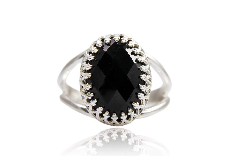 Nouveau Round Cut Mystic Black Onyx Gemstone Silver Women Bijoux Anneaux Taille 6-9