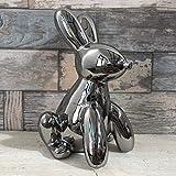Silver Animal Balloon Pop Art Bunny Rabbit Hare Sculpture Statue Figure Ornament