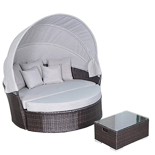 Yoto Rattan Victoria Outdoor Wicker Rattan Patio Daybed with Canopy (Half Moon Rattan Furniture)