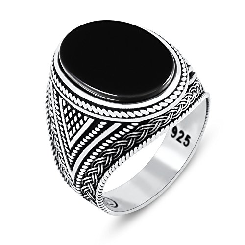 Chimoda Mens Rings with Black Onyx Stone in 925 Sterling Silver with Vintage Eastern Motifs Men's Jewelry - Large Silver Ring Onyx