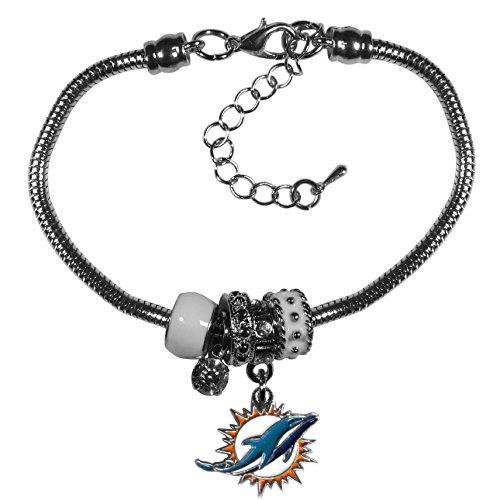 Siskiyou NFL Miami Dolphins Womens Euro Bead Bracelet