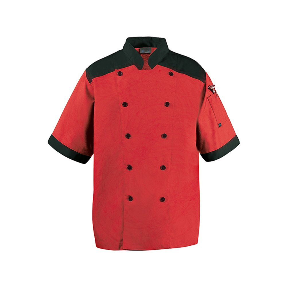 CookCool Top Trim Chef Coat Short Sleeve (Medium, Red)