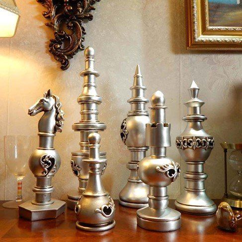 Living room crafts chess office Home Furnishing European style of the ancient wine accessories 6 pieces are sold together zj0119301 ( Color : Silver ) by Supper PP