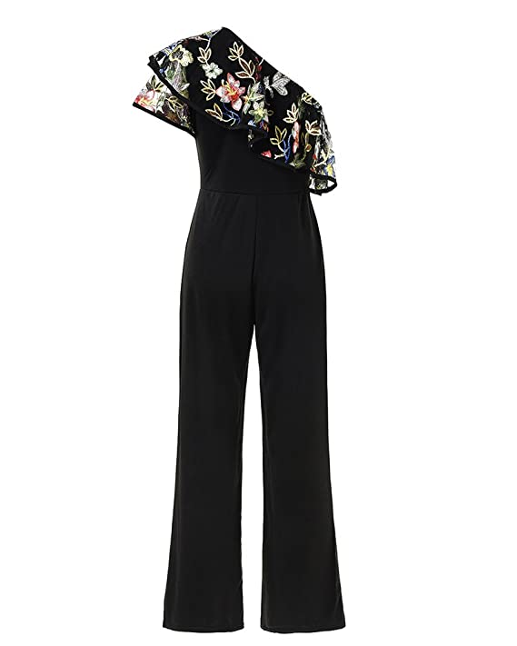 c5575825f29 Guiran Womens Elegant Ruffle High Waist Wide Leg Long Romper Playsuits  Jumpsuit for Evening Party Cocktail Formal Black XL  Amazon.co.uk  Clothing