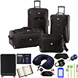 American Tourister Fieldbrook XLT 4pc. Luggage Set (Black) w/ 10pc Accessory Kit