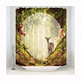 Beydodo Shower Curtain for Women with Deer Forest Pattern 53x77in Bathroom Curtain 100% Polyester