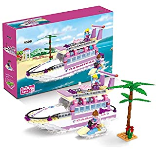 BRICK STORY Girls Building Sets Cruise Ship Toy 318 Pieces Creative Building Blocks Yacht Boat Role-Play Building Kit Xmas Gift for Kids Aged 6 and Up