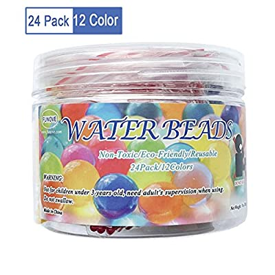 24 Pack 12 Colors Magic Water Beads - Over 20,000 Orbeez Beads - Makes Over Six Gallons - Gel Beads - Crystal Soil Water Bead - Water Growing Balls Vase Filler for Wedding Party Decoration(7OZ, 200g)
